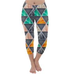 Abstract Geometric Triangle Shape Capri Winter Leggings