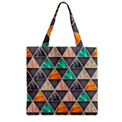 Abstract Geometric Triangle Shape Zipper Grocery Tote Bag