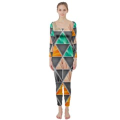 Abstract Geometric Triangle Shape Long Sleeve Catsuit