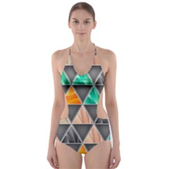 Abstract Geometric Triangle Shape Cut-Out One Piece Swimsuit