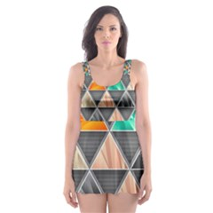 Abstract Geometric Triangle Shape Skater Dress Swimsuit