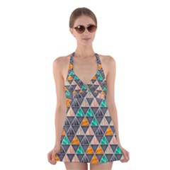 Abstract Geometric Triangle Shape Halter Swimsuit Dress