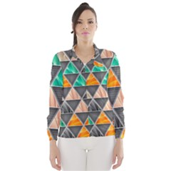 Abstract Geometric Triangle Shape Wind Breaker (Women)