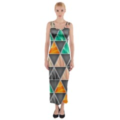 Abstract Geometric Triangle Shape Fitted Maxi Dress