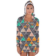 Abstract Geometric Triangle Shape Women s Long Sleeve Hooded T-shirt