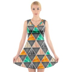 Abstract Geometric Triangle Shape V Neck Sleeveless Skater Dress