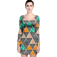 Abstract Geometric Triangle Shape Long Sleeve Velvet Bodycon Dress