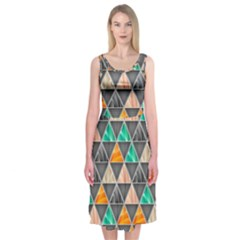 Abstract Geometric Triangle Shape Midi Sleeveless Dress