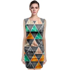 Abstract Geometric Triangle Shape Classic Sleeveless Midi Dress