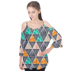 Abstract Geometric Triangle Shape Flutter Tees