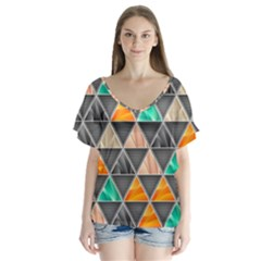 Abstract Geometric Triangle Shape Flutter Sleeve Top