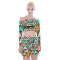 Abstract Geometric Triangle Shape Off Shoulder Top With Skirt Set