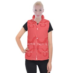 Zodizc Taurus Red Women s Button Up Puffer Vest