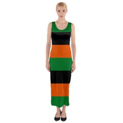 Color Green Orange Black Fitted Maxi Dress