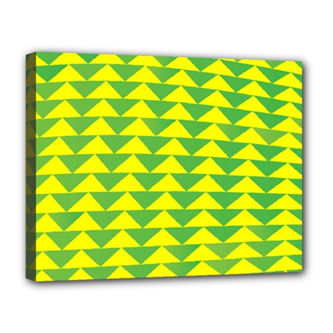 Arrow Triangle Green Yellow Canvas 14  x 11