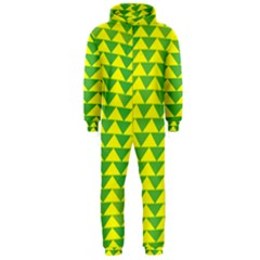 Arrow Triangle Green Yellow Hooded Jumpsuit (Men)