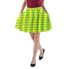 Arrow Triangle Green Yellow A-Line Pocket Skirt