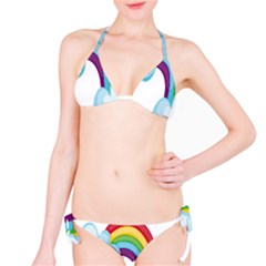 Could Rainbow Red Yellow Green Blue Purple Bikini Set