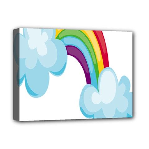 Could Rainbow Red Yellow Green Blue Purple Deluxe Canvas 16  x 12