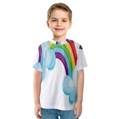 Could Rainbow Red Yellow Green Blue Purple Kids  Sport Mesh Tee
