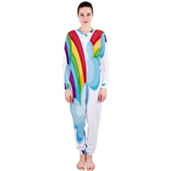 Could Rainbow Red Yellow Green Blue Purple OnePiece Jumpsuit (Ladies)