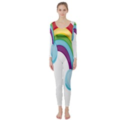 Could Rainbow Red Yellow Green Blue Purple Long Sleeve Catsuit