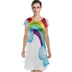 Could Rainbow Red Yellow Green Blue Purple Cap Sleeve Nightdress