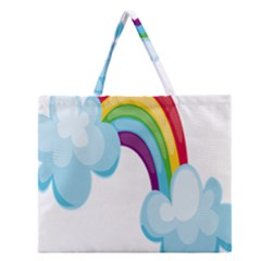 Could Rainbow Red Yellow Green Blue Purple Zipper Large Tote Bag