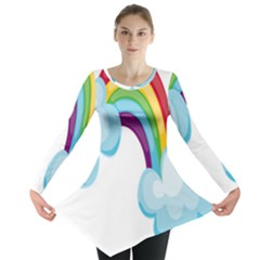 Could Rainbow Red Yellow Green Blue Purple Long Sleeve Tunic