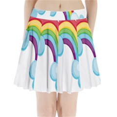 Could Rainbow Red Yellow Green Blue Purple Pleated Mini Skirt