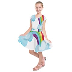 Could Rainbow Red Yellow Green Blue Purple Kids  Short Sleeve Dress
