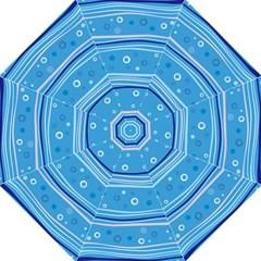 Blue Circle Line Waves Folding Umbrellas