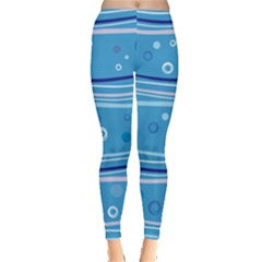 Blue Circle Line Waves Leggings