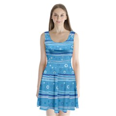 Blue Circle Line Waves Split Back Mini Dress