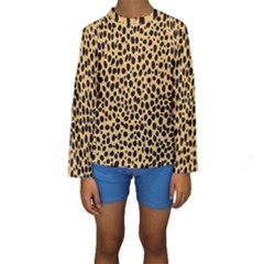 Cheetah Skin Spor Polka Dot Brown Black Dalmantion Kids  Long Sleeve Swimwear