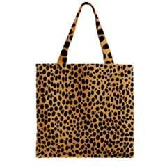 Cheetah Skin Spor Polka Dot Brown Black Dalmantion Zipper Grocery Tote Bag