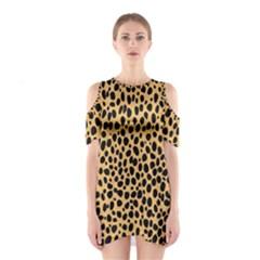Cheetah Skin Spor Polka Dot Brown Black Dalmantion Shoulder Cutout One Piece