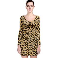 Cheetah Skin Spor Polka Dot Brown Black Dalmantion Long Sleeve Velvet Bodycon Dress