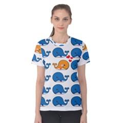 Fish Animals Whale Blue Orange Love Women s Cotton Tee