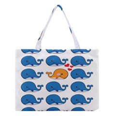 Fish Animals Whale Blue Orange Love Medium Tote Bag