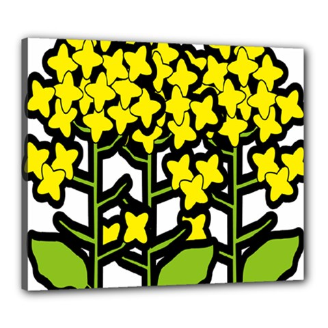 Flower Floral Sakura Yellow Green Leaf Canvas 24  x 20