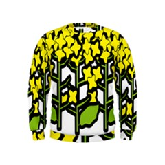 Flower Floral Sakura Yellow Green Leaf Kids  Sweatshirt