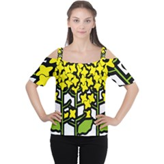 Flower Floral Sakura Yellow Green Leaf Women s Cutout Shoulder Tee