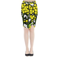 Flower Floral Sakura Yellow Green Leaf Midi Wrap Pencil Skirt