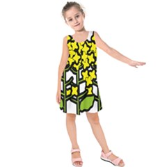 Flower Floral Sakura Yellow Green Leaf Kids  Sleeveless Dress