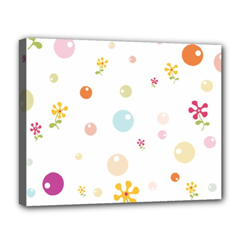 Flower Floral Star Balloon Bubble Canvas 14  x 11
