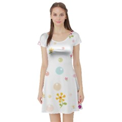 Flower Floral Star Balloon Bubble Short Sleeve Skater Dress
