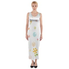 Flower Floral Star Balloon Bubble Fitted Maxi Dress
