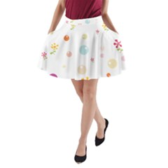 Flower Floral Star Balloon Bubble A-Line Pocket Skirt