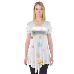 Flower Floral Star Balloon Bubble Short Sleeve Tunic